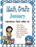 January MATH CRAFTS Subtraction Facts within 20