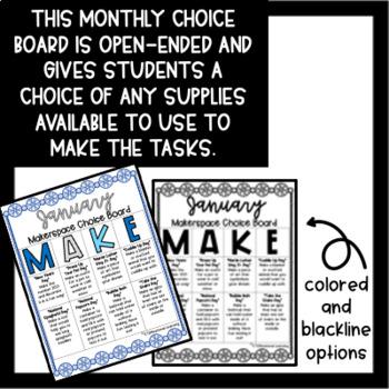 January Makerspace STEM Choice Board
