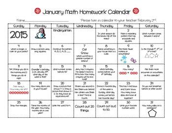 January Math Calendar