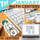 January Math Centers & Activities for 1st Grade