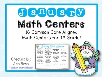 January Math Centers Menu {Common Core Aligned} Grade 1
