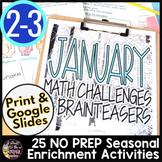 Winter Math Activities | 2nd Grade & 3rd Grade Math Challenges for January