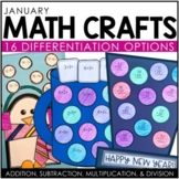 January Math Crafts (differentiated): New Year's Hat, Penguin, and Hot Cocoa