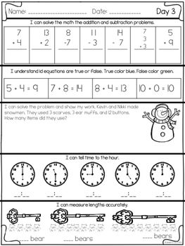 January Math Daily Practice