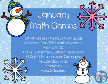 January Math Games - 2 Digit Subtraction and Facts practice