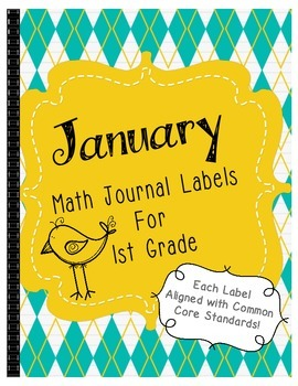 January Math Journal Labels ~ CCSS Aligned