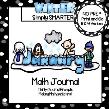 January Math Journal:  NO PREP Journal Prompts