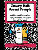 January Math Journal Prompts Addition and Subtraction Stor