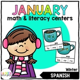 January Math & Literacy Centers in Spanish