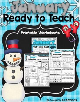 January READY TO TEACH Bundle - No Prep Worksheets - Math & Literacy CCSS