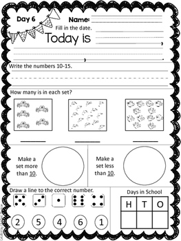 January Math Morning Work