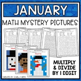January Math Mystery Pictures - Multiply and Divide