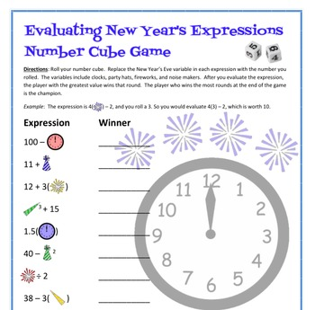 January Math - New Year's Number Cube Game - Evaluating Expressions