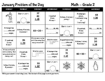 January Math POD (Grade 2)