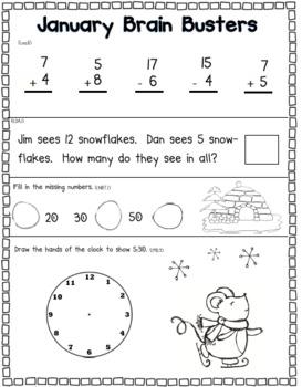 January Math Pack (1st Grade Common Core)