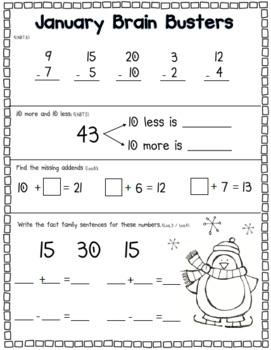 January Math Pack (1st Grade Common Core)