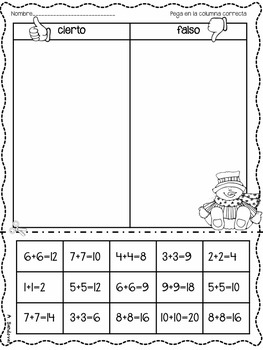January Math Practice in Spanish for FIRST GRADE