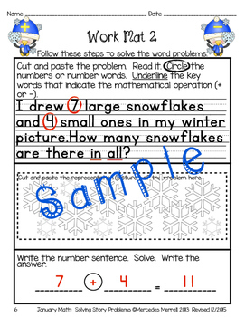 January Math: Solving Story Problems First Grade