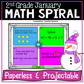 Daily Math Spiral for 2nd Grade - January