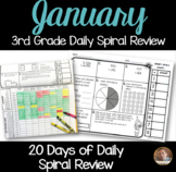 January Math Spiral Review: Daily Math for 3rd Grade (Print and Go)