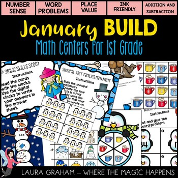 BUILD January Math Centers for First Grade