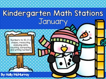 January Math Stations for Kindergarten