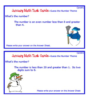 January Math Task Cards with Guess the Number theme