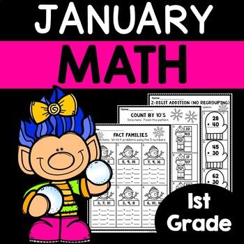 January Math Worksheets   1st Grade