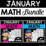 January Math Worksheets for 1st and 2nd Grade Bundle | January Math