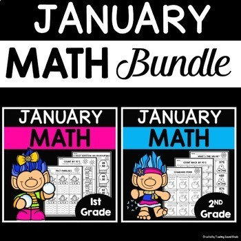 January Math Worksheets for 1st and 2nd Grade Bundle   January Math