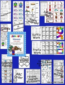 January Math and LA Centers BUNDLE for 1st and 2nd Grade
