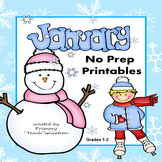 January Math and Literacy NO PREP Winter Printables for Common Core Skills