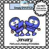 January Math and Literacy Printables and Activities For First Grade