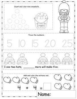 January Math Worksheets, Winter Themed Daily Math, January Activities