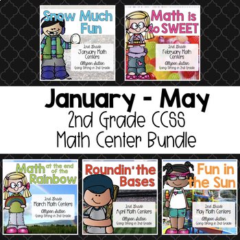 January - May 2nd Grade Math Centers Bundle