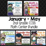 January - May 2nd Grade Math Centers Bundle