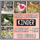 January - May BUNDLE Kindergarten Math and Literacy Printables NO PREP