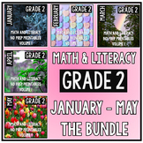 January - May BUNDLE Second Grade Math and Literacy Printables NO PREP