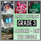 January - May BUNDLE Third Grade Math and Literacy Printables NO PREP