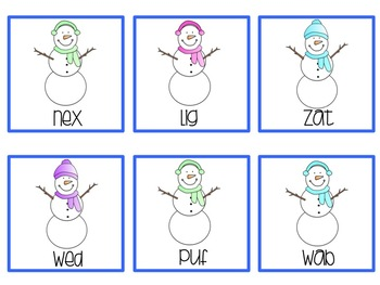 January Melted Snowman Nonsense Word Fluency Game