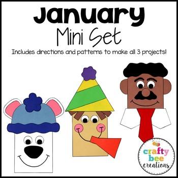 January Mini Craft Set {Polar Bear, New Years Eve, & Martin Luther King Jr.}