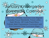 January Mon.-Thur. Editable Common Core Kindergarten 4 Week Homework Calendar