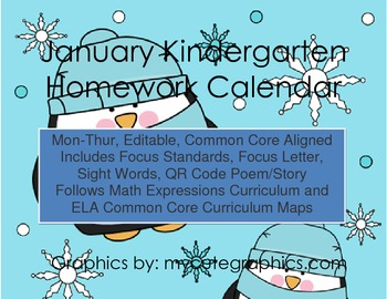January Mon.-Thur. Editable Common Core Kindergarten 4 Week Homework Calendar