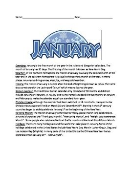 January - Month Review Article Everything about January questions activities