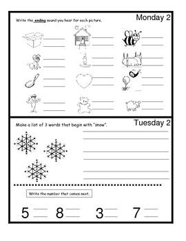 January Monthly Homework for Kindergarten- Editable