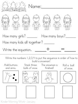 January Morning Work (Kindergarten) Sample