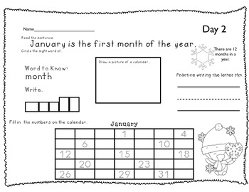 January Morning Work Printables