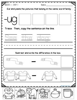 January Morning Work for Kindergarten and First Grade