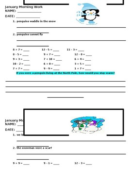 January Morning Work for Second Grade