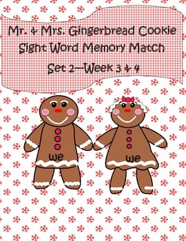 Mr. & Mrs. Gingerbread Cookie Sight Word Set 2 Literacy Center Week 3-4